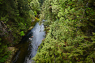 Kayaking the Capilano River in West Vancouver, British Columbia, Canada.