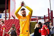 Richard O'Donnell of Bradford City (1) enters the pitch before kick off during the EFL Sky Bet League 1 match between Barnsley and Bradford City at Oakwell, Barnsley, England on 12 January 2019.