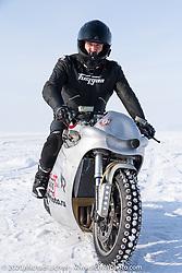 Russian custom bike builder Yaroslav Tatarinov with his 2008 Kawasaki 1350 GTR 1350cc with incredible hand crafted aluminum body work at the Baikal Mile Ice Speed Festival. Maksimiha, Siberia, Russia. Saturday, February 29, 2020. Photography ©2020 Michael Lichter.