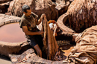 Worker at Chouara Tannery, Fez, Morocco
