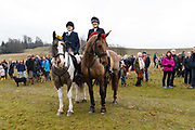 Horses decorated in tinsel and their riders prepare to take part in the traditional Chiddingfold, Leconfield and Cowdray Boxing Day Hunt, which sets off from the kennels at Petworth House in Petworth Park, West Sussex, UK on December 26, 2018