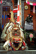 INDONESIA, BALI, CULTURE costumed actors in Barong Dance