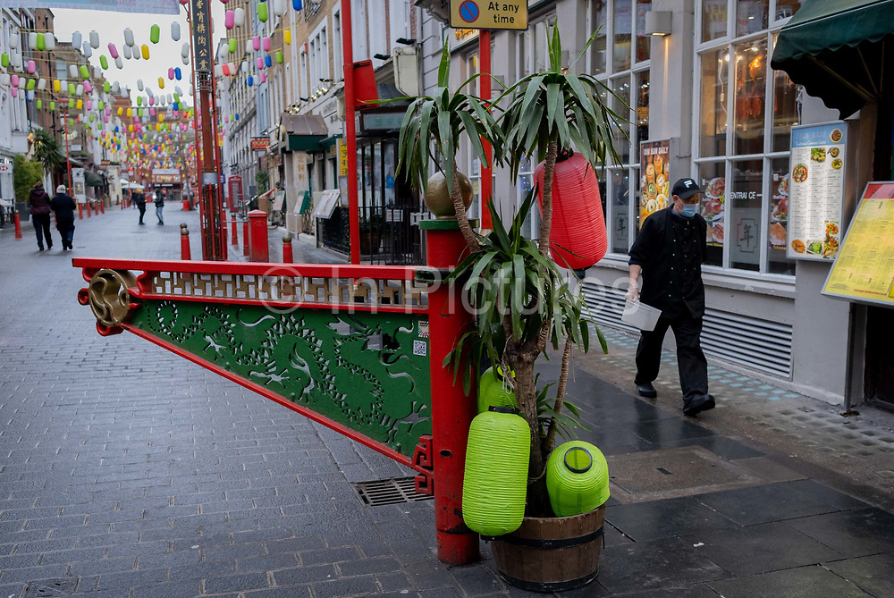 The day after the government introduced a third Coronavirus pandemic national lockdown, effectively a Tier 5 restriction, Chinatowns Gerrard Street remain quiet as the capital experiences a grim post-Christmas and millions of Britons are told to stay at home, on 5th January 2021, in London, England.