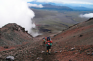 Climbing  down from the Jose Ribas Hut located at 15,000 feet in Cotopaxi National Park in Ecuador.