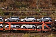 freight train with brand-new Suzuki Vitara cars, Cologne, Germany.<br /> <br /> Autozug mit fabrikneuen Suzuki Vitara Modellen, Koeln, Deutschland.
