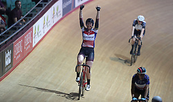 Great Britain's Katie Archibald celebrates winning the Points Race element of the Women's Omnium, during day one of the Six Day Series at the HSBC National Cycling Centre, Manchester.
