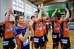 Alen Sket, Ales Fabjan, Alen Pajenk, Nicholas Cundy, Andrej Flajs of ACH celebrate at last final volleyball match of 1.DOL Radenska Classic between OK ACH Volley and Salonit Anhovo, on April 21, 2009, in Arena SGS Radovljica, Slovenia. ACH Volley won the match 3:0 and became Slovenian Champion. (Photo by Vid Ponikvar / Sportida)