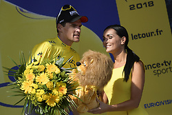 July 11, 2018 - Quimper, FRANCE - Belgian Greg Van Avermaet of BMC Racing celebrates on the podium in the yellow jersey of leader in the overall ranking after the fifth stage of the 105th edition of the Tour de France cycling race, from Lorient to Quimper (204,5 km), in France, Wednesday 11 July 2018. This year's Tour de France takes place from July 7th to July 29th. BELGA PHOTO YORICK JANSENS - FRANCE OUT (Credit Image: © Yorick Jansens/Belga via ZUMA Press)