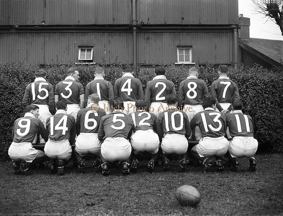 Irish Rugby Football Union, Ireland v France, Five Nations, Landsdowne Road, Dublin, Ireland, Saturday 22nd January, 1955,.22.1.1955, 1.22.1955,..Referee- Mr Ivor David, Welsh Rugby Union, ..Score- Ireland 3 - 5 France,..Irish Team, ..W R Tector, Wearing number 15 Irish jersey, Full Back, Wanderers Rugby Football Club, Dublin, Ireland, ..S J Byrne, Wearing number 14 Irish jersey, Right Wing, University College Dublin Rugby Football Club, Dublin, Ireland, ..N J Henderson, Wearing number 13 Irish jersey, Right centre, N.I.F.C, Rugby Football Club, Belfast, Northern Ireland,..A J O'Reilly, Wearing number 12 Irish jersey, Left Centre, Old Belvedere Rugby Football Club, Dublin, Ireland,  ..A C Pedlow, Wearing number 11 Irish jersey, Left wing, Queens University Rugby Football Club, Belfast, Northern Ireland,..J W Kyle, Wearing number 10 Irish jersey, Ouside Half, N.I.F.C, Rugby Football Club, Belfast, Northern Ireland,..J A O'Meara, Wearing number 9 Irish jersey, Scrum, Dolphin Rugby Football Club, Cork, Ireland, ..P J O'Donoghue, Wearing  Number 1 Irish jersey, Forward, Bective Rangers Rugby Football Club, Dublin, Ireland,..R Roe, Wearing number 2 Irish jersey, Forward, Landsdowne Rugby Football Club, Dublin, Ireland, ..F E Anderson, Wearing number 3 Irish jersey, Forward, N.I.F.C, Rugby Football Club, Belfast, Northern Ireland,..W J O'Connell, Wearing number 4 Irish jersey, Forward, Landsdowne Rugby Football Club, Dublin, Ireland,..R H Thompson, Wearing number 5 Irish jersey, Captain of the Irish Team, Forward, Instonians Rugby Football Club, Belfast, Northern Ireland,..J S McCarthy, Wearing number 6 Irish jersey, Forward, Dolphin Rugby Football Club, Cork, Ireland, ..J R Kavanagh, Wearing number 7 Irish jersey, Forward, Wanderers Rugby Football Club, Dublin, Ireland, ..M J Cunningham,  Wearing number 8 Irish jersey, Forward, University college Cork Rugby Football Club, Cork, Ireland,