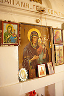 Madonna, Virgin Mary, Icons in the 17th Century Byzantine Greek Orthodox Monastery of Agia Anna ( St Anne) 17th Century .<br /> <br /> Visit our GREEK HISTORIC PLACES PHOTO COLLECTIONS for more photos to download or buy as wall art prints https://funkystock.photoshelter.com/gallery-collection/Pictures-Images-of-Greece-Photos-of-Greek-Historic-Landmark-Sites/C0000w6e8OkknEb8