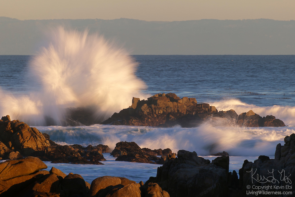 Strong Pacific Ocean waves crash into the rugged coastline at Pino Point in Pacific Grove, California.