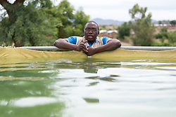 30 May 2019, Mokolo, Cameroon: WASH supervisor Yanik Yota oversees a water pumping station near Mayo Luti ('River Luti'), which provides water to the Minawao camp for Nigerian refugees. The Minawao camp for Nigerian refugees, located in the Far North region of Cameroon, hosts some 58,000 refugees from North East Nigeria. The refugees are supported by the Lutheran World Federation, together with a range of partners.
