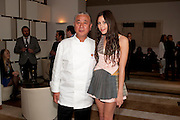 NOBU MATSUHISA;; ELIZA DOOLITTLE; , The Tomodachi ( Friends) Charity Dinner hosted by Chef Nobu Matsuhisa in aid of the Japanese Tsunami Appeal. Nobu Park Lane. London. 4 May 2011. <br /> <br />  , -DO NOT ARCHIVE-© Copyright Photograph by Dafydd Jones. 248 Clapham Rd. London SW9 0PZ. Tel 0207 820 0771. www.dafjones.com.