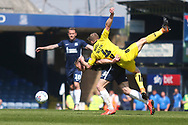 Southend United midfielder Sam Mantom (18) and Burton Albion midfielder Jamie Allen (4) during the EFL Sky Bet League 1 match between Southend United and Burton Albion at Roots Hall, Southend, England on 22 April 2019.