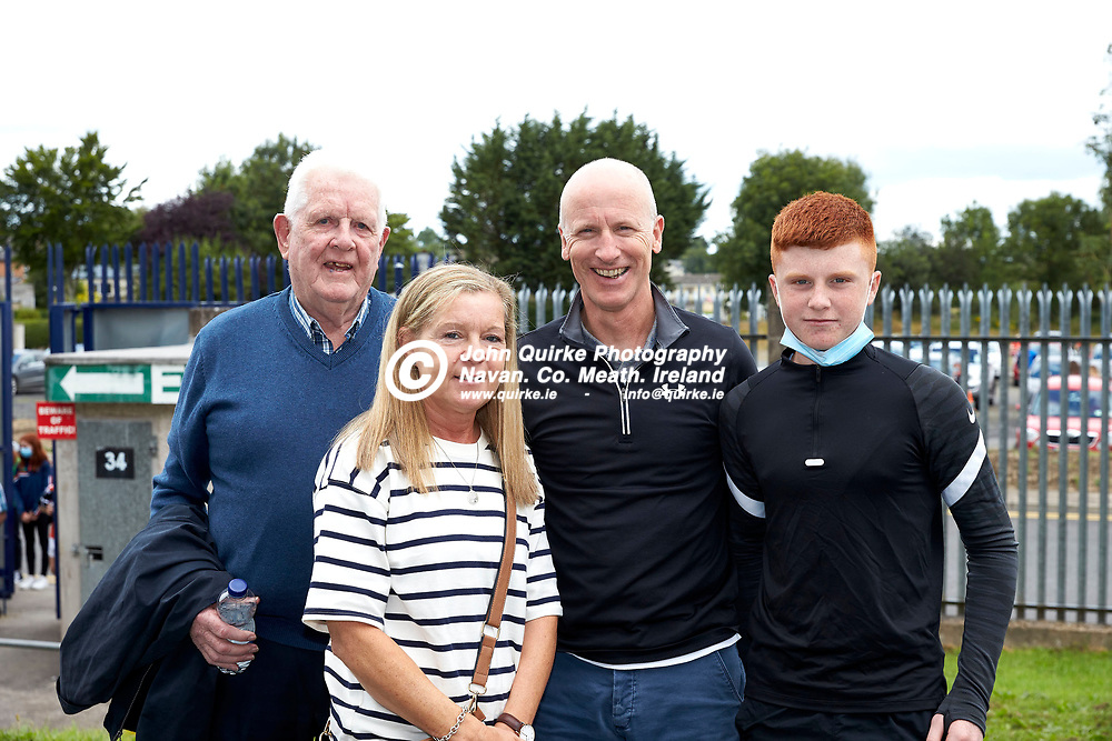 01-08-21, All Ireland Ladies SFC quarterfinal at Clones<br /> Meath v Armagh<br /> Meath supporters pictured at the game: Jim Coyne with Marie, Liam & Cian Duggan<br /> Photo: David Mullen / www.quirke.ie ©John Quirke Photography, Proudstown Road Navan. Co. Meath. 046-9079044 / 087-2579454.<br /> ISO: 200; Shutter: 1/250; Aperture: 7.1;