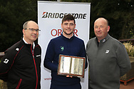 Colm Conyngham Bridgestone Ireland Frank  (?) with Rob Brazil (Naas) winner of the Bridgestone Order of Merit at the presentations in the GUI National Academy, Maynooth, Kildare, Ireland. 30/11/2019.<br /> Picture Fran Caffrey / Golffile.ie<br /> <br /> All photo usage must carry mandatory copyright credit (© Golffile | Fran Caffrey)