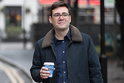 "© Licensed to London News Pictures. Manchester , UK . FILE PICTURE DATED 07/01/2017 of ANDY BURNHAM carrying Caffe Nero coffee when arriving for a campaign launch event for Andy Burnham's candidacy of Mayor of Greater Manchester, at the Mechanics' Institute in Manchester. Mr Burnham wrote on twitter "" Bit bizarre hearing these right-wing calls for a 'Barista Visa'. God forbid the idea of waiting longer in the morning for their posh coffee "". Photo credit: Joel Goodman/LNP"