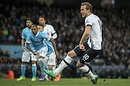 Harry Kane (Tottenham Hotspur) makes it 1-0 to Spurs as he scores from the penalty spot during the Barclays Premier League match between Manchester City and Tottenham Hotspur at the Etihad Stadium, Manchester, England on 14 February 2016. Photo by Mark P Doherty.