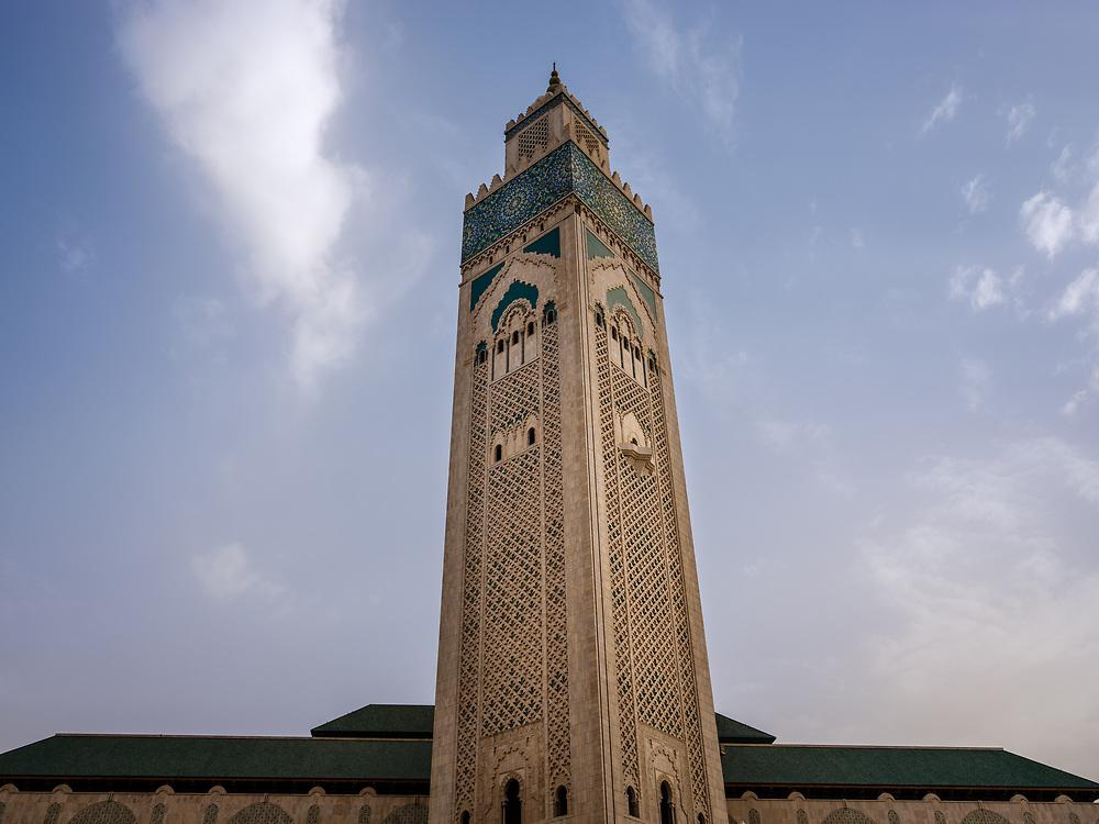 CASABLANCA, MOROCCO - CIRCA APRIL 2017: Minaret of Mosque Hassan II in Casablanca.