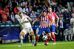 August 15, 2018 - Tallinn, Estonia - Koke of Atletico Madrid on attack against Toni Kroos of FC Real Madrid at UEFA Super Cup 2018 in Tallinn..The UEFA Super Cup 2018 was played between Real Madrid and Atletico Madrid. Atletico Madrid won the match 4-2 during extra time after and took the trophy after drawing at 2-2 during the first 90 minute of game play. (Credit Image: © Hendrik Osula/SOPA Images via ZUMA Wire)