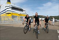 Sykkel<br /> Tour de France 2013<br /> Foto: PhotoNews/Digitalsport<br /> NORWAY ONLY<br /> <br /> PORTO VECCHIO, FRANCE - JUNE 27:  Edvald Boasson Hagen - Christopher Froome - Richie Porte of Sky Team during a training prior to the 2013 Tour de France on June 27, 2013 in Porto-Vecchio, Corsica - France.