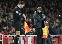 Football - 2017 / 2018 Premier League - Arsenal vs. Chelsea<br /> <br /> Antonio Conte, Manager of Chelsea FC, glares in the direction of the linesman after his player was booked at The Emirates.<br /> <br /> COLORSPORT/DANIEL BEARHAM