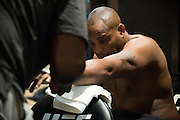 LAS VEGAS, NV - JULY 9:  Daniel Cormier has his hands wrapped in the locker room before UFC 200 at T-Mobile Arena on July 9, 2016 in Las Vegas, Nevada. (Photo by Cooper Neill/Zuffa LLC/Zuffa LLC via Getty Images) *** Local Caption *** Daniel Cormier
