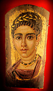 Young Woman with a Gilded Wreath.  AD120-140. Encaustic on wood.