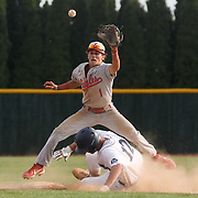 Eastwood's Case Boos (1), top, leaps as Lake's Cam Hoffman (12) slides into second during a high school baseball game between Lake and Eastwood at Lake High School in Millbury, Ohio, on Thursday, May 20, 2021. THE BLADE/KURT STEISS
