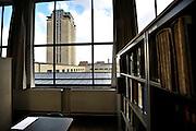 Gent, Belgie, Mar 16, 2009, De Boekentoren, Universiteitsbibliotheek gebouwt door Henry Van de Velde, zicht op de toren vanuit de kunstbibliotheek, ©Christophe VANDER EECKEN