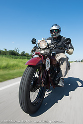 Doug Jones riding his 1929 Indian 101 Scout during Stage 4 of the Motorcycle Cannonball Cross-Country Endurance Run, which on this day ran from Chatanooga to Clarksville, TN., USA. Monday, September 8, 2014.  Photography ©2014 Michael Lichter.