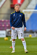 Liam Dick (#3) of Alloa Athletic FC during the warm up before the SPFL Championship match between Heart of Midlothian FC and Alloa Athletic FC at Tynecastle Park, Edinburgh, Scotland on 9 April 2021.