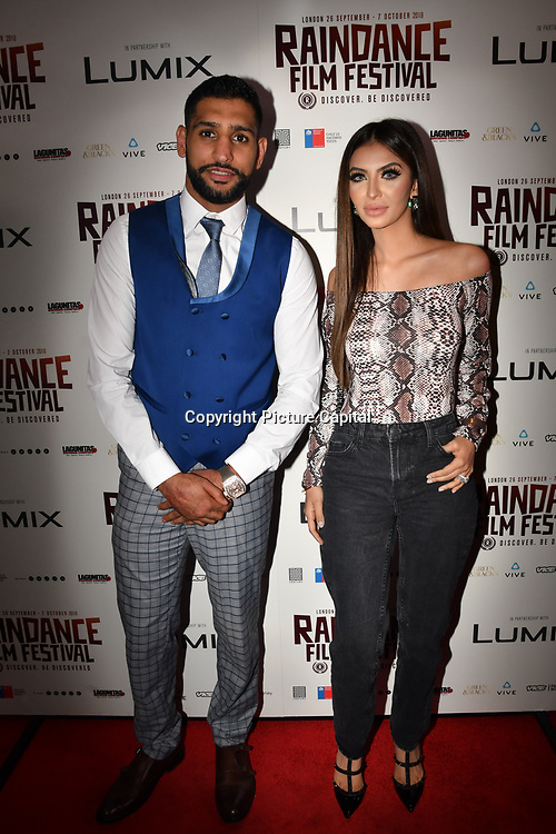 British Asain Boxer Amir Khan and Faryal Makhdoom attend World Premiere of Team Khan - Raindance Film Festival 2018 at Vue Cinemas - Piccadilly, London, UK. 29 September 2018.