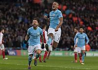 Football - 2018 Carabao (EFL/League) Cup Final - Manchester City vs. Arsenal<br /> <br /> Vincent Kompany (Manchester City) celebrates scoring at Wembley.<br /> <br /> COLORSPORT/DANIEL BEARHAM