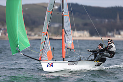 Day 1 of the RYA Youth National Championships 2013 held at Largs Sailing Club, Scotland from the 31st March - 5th April. ..2117, Ed CONNELLAN, Matthew RHODES Rutland SC, 29er..For Further Information Contact..Matt Carter.Racing Communications Officer.Royal Yachting Association.M: 07769 505203.E: matt.carter@rya.org.uk ..Image Credit Marc Turner / RYA..