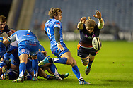 Ben Toolis (#5) of Edinburgh Rugby attempts to charge down a clearing kick from Rhodri Williams (#9) of Dragons Rugby during the Guinness Pro 14 2018_19 match between Edinburgh Rugby and Dragons Rugby at BT Murrayfield Stadium, Edinburgh, Scotland on 15 February 2019.