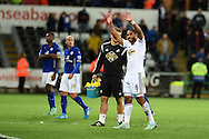 Ashley Williams of Swansea city  waves to the fans at the end of the match.Barclays Premier league match, Swansea city v Leicester city at the Liberty stadium in Swansea, South Wales on Saturday 25th October 2014<br /> pic by Andrew Orchard, Andrew Orchard sports photography.