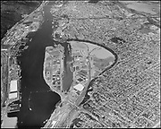 ackroyd-13926-27 Port of Portland. Swan Island aerial looking downstream. May 7, 1966