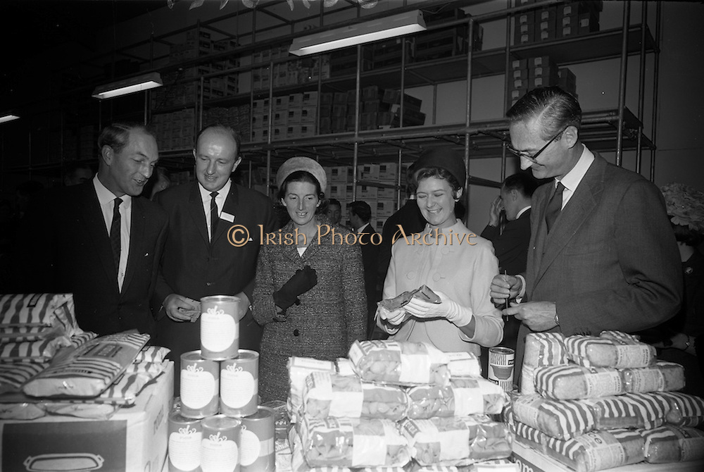 10/10/1966<br /> 10/10/1966<br /> 10 October 1966<br /> Opening of new Roma Foods Products Ltd. factory at Finglas, Dublin. Picture shows  viewing some of the products (l-r): Mr. George Colley, Minister for Industry and Commerce; Mr. Patrick Meade, Managing Director; Mrs. Mary Colley; Mrs. Meade and Baron Vittoro Guicciardi, Italian Ambassador.
