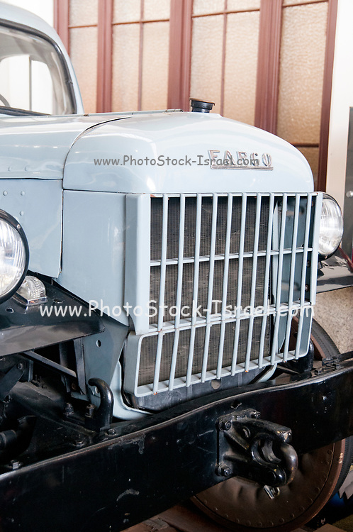 Fargo Power wagon adapted for travel on railway tracks at the Museo del Ferrocarril (Railway Museum) at Madrid-Delicias railway station. Madrid, Spain