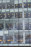 Office block interiors on view from exterior in Dublin