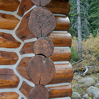 Cement fills the cracks on a modern log cabin in Banff National Park, Alberta, Canada.