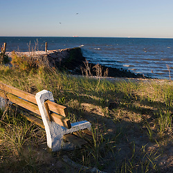 A bench on Long Beach in Stratford, Connecticut.