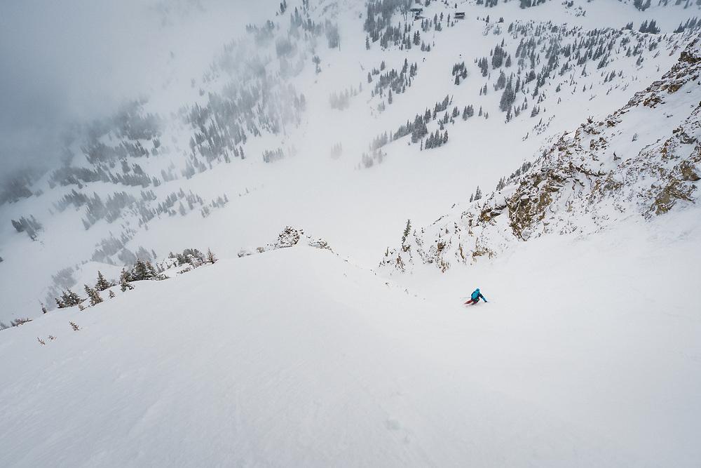 Luke Hinz drops in to Little Chute, Mount Baldy, Alta, Utah.