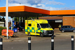 © Licensed to London News Pictures. 29/09/2021. London, UK. A London Ambulance leaves Sainsbury's petrol station in Haringey, north London after refuelling on the sixth day of the fuel crisis. According to the government, 75 army tanker drivers have been put on standby to deliver motor fuel in order to ease the chaos at petrol stations. Photo credit: Dinendra Haria/LNP
