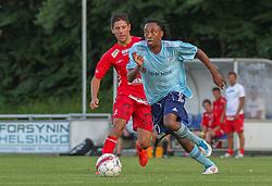 Jimmy Kana (FC Helsingør) under træningskampen mellem FC Helsingør og IS Halmia (Sverige) den 24. juli 2012 på Helsingør Stadion (Foto: Claus Birch).