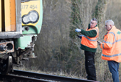 © Licensed to London News Pictures. 17/02/2018. Horsham, UK. Damage is seen to the lower front parts  of a train after it hit a car at a level crossing where two people have been killed near the village of Barns Green. Photo credit: Peter Macdiarmid/LNP