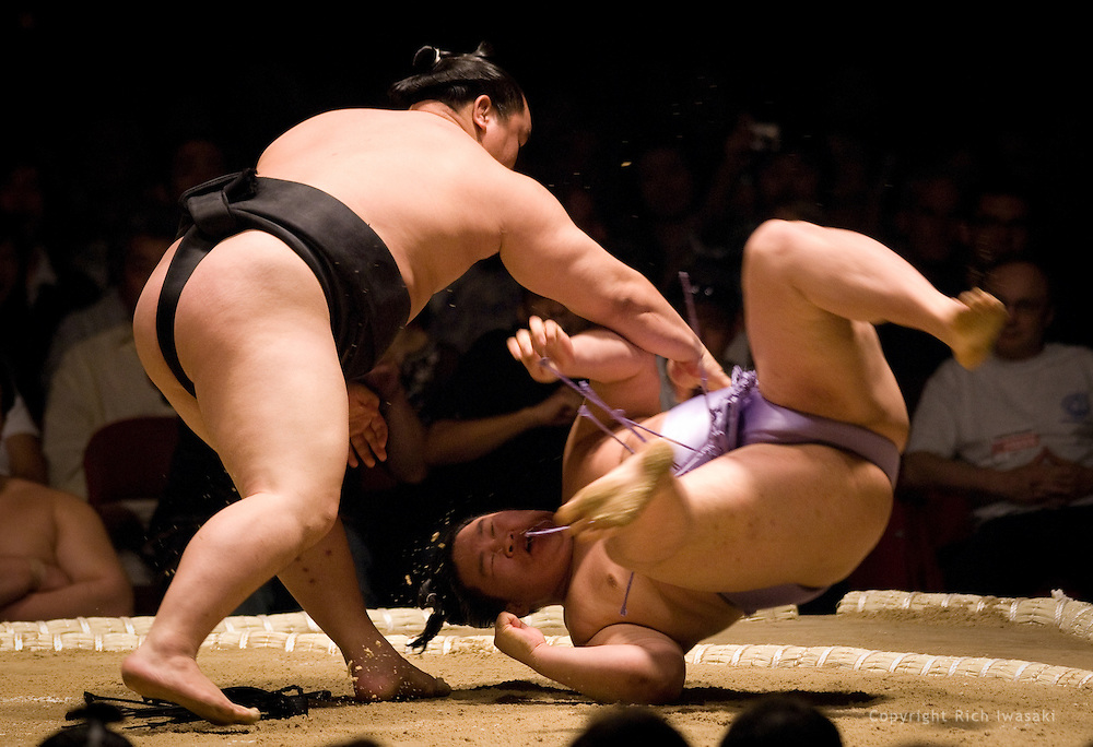 Asashoryu throws down Goeido in the start of the third round of Day 1 of Grand Sumo Tournament Los Angeles 2008, Los Angeles Sports Arena, Los Angeles, California
