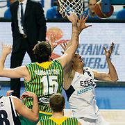 Efes Pilsen's Kerem GONLUM (R) during their Turkish Basketball league match Efes Pilsen between Olin Edirne at the Sinan Erdem Arena in Istanbul Turkey on Friday 06 May 2011. Photo by TURKPIX