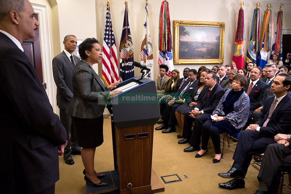 Loretta E. Lynch speaks after President Barack Obama announced that she is his nominee to succeed Attorney General Eric H. Holder, Jr., left, in the Roosevelt Room of the White House, Saturday, Nov. 8, 2014. (Official White House Photo by Pete Souza)<br /> <br /> This official White House photograph is being made available only for publication by news organizations and/or for personal use printing by the subject(s) of the photograph. The photograph may not be manipulated in any way and may not be used in commercial or political materials, advertisements, emails, products, promotions that in any way suggests approval or endorsement of the President, the First Family, or the White House.